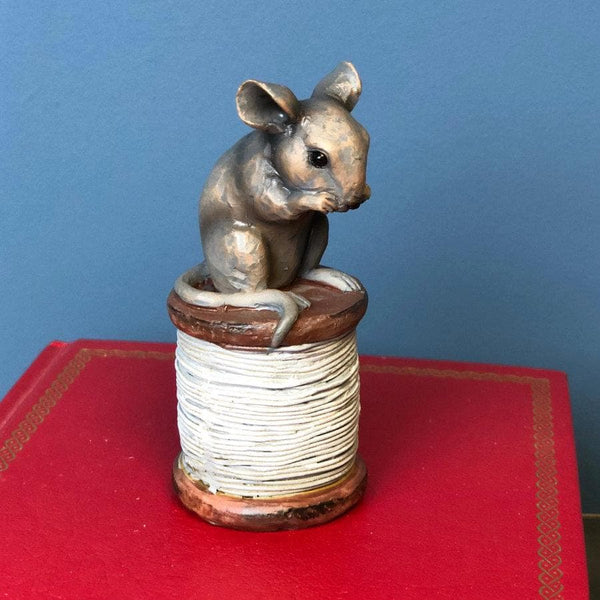 Grey Mouse on cotton reel Ornament | The Farthing