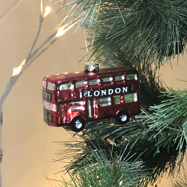 Hanging Red London City Bus Bauble at the Farthing 1