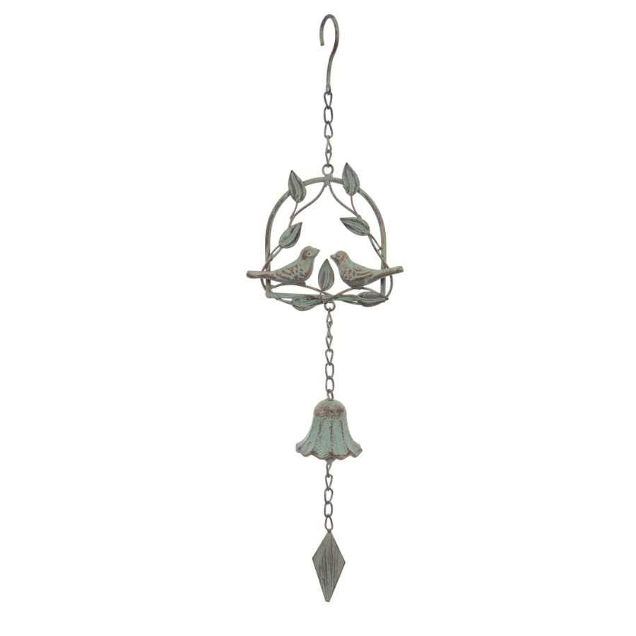 Decorative Distressed Love Birds Hanging Wind Chime