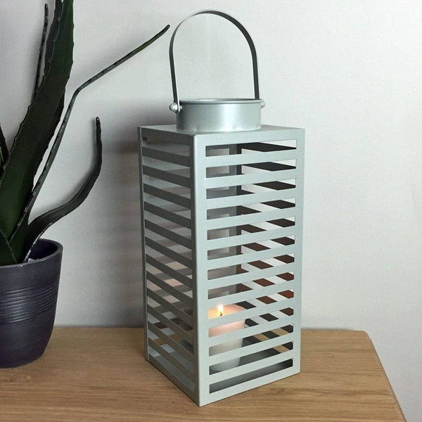 Manor Grey Metal Hurricane Lantern - The Farthing