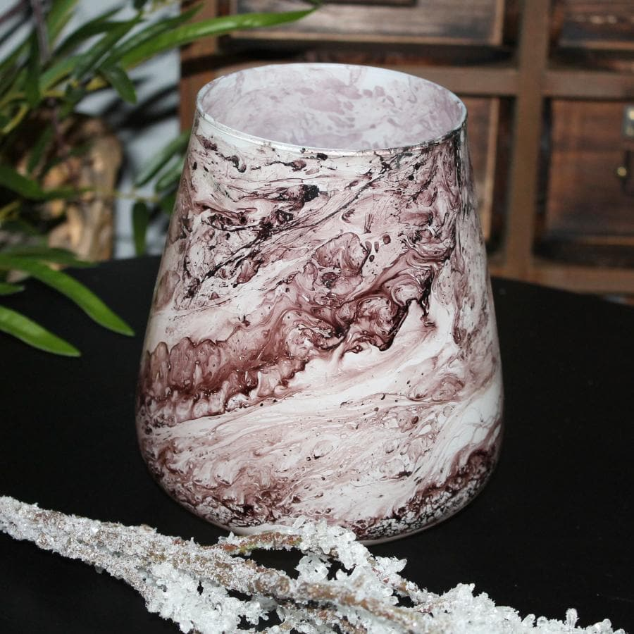 Marbled Pink Glass Tea Light Holder at the Farthing 2