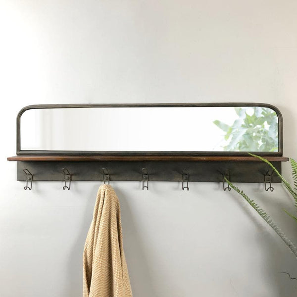 Rustic Long Wall Mirror with Shelf & Hooks at the Farthing