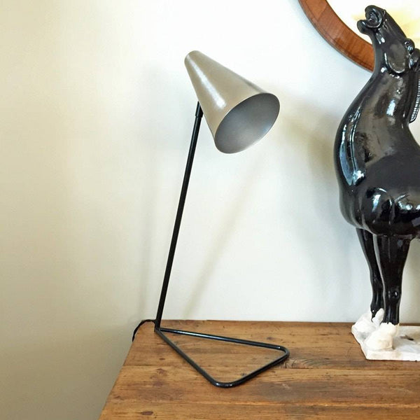 Brushed Silver Angled Table Lamp - The Farthing