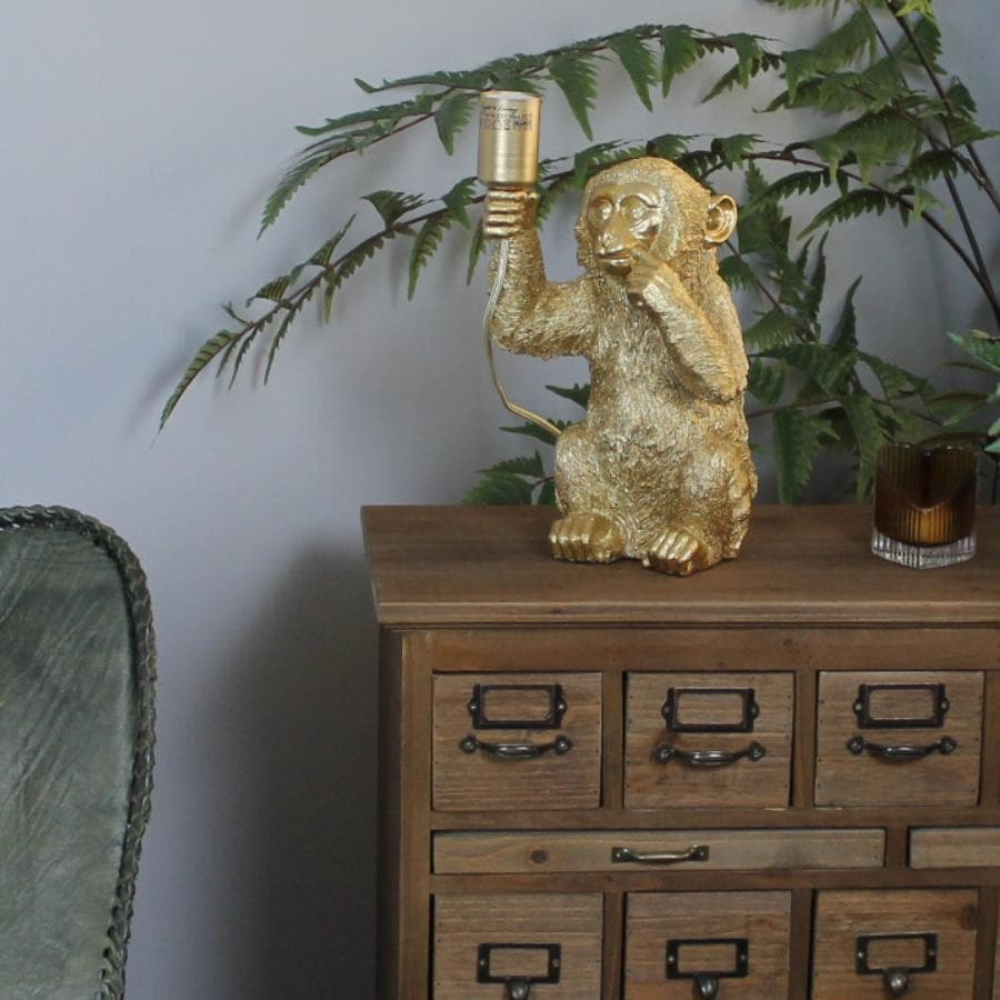 Gold Monkey Table Lamp at the Farthing