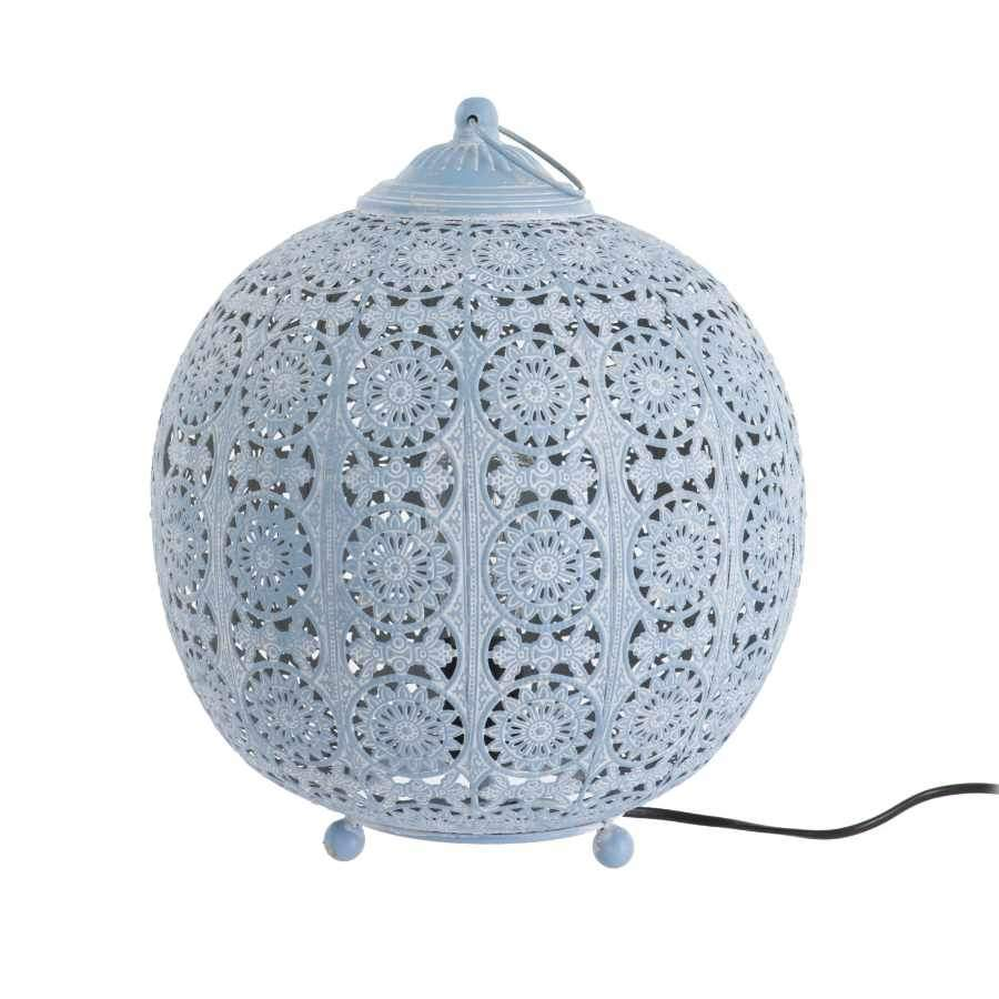 Round Moroccan Inspired Filigree Metal Table Lamp