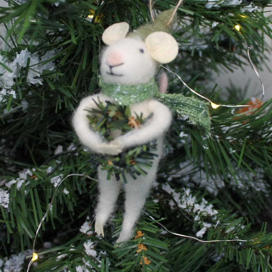 Felt Christmas Mouse Hanging Decoration with Wreath