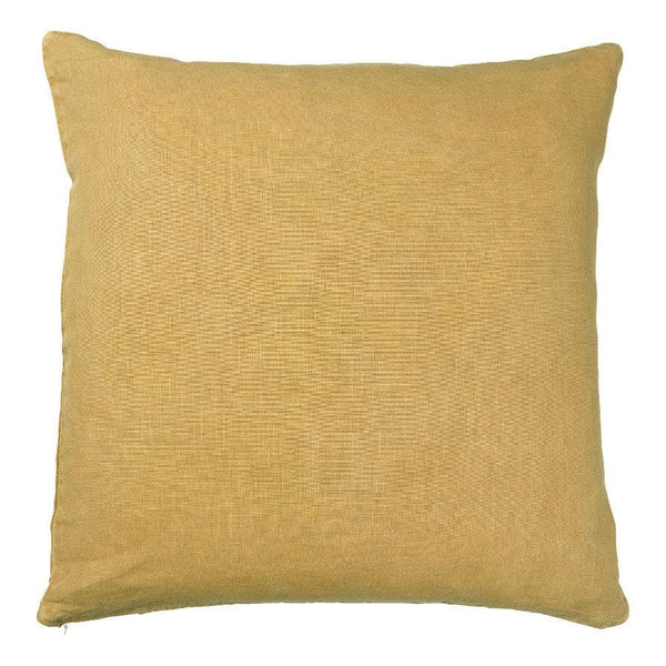 Square Cotton Mustard Feather Cushion | Farthing