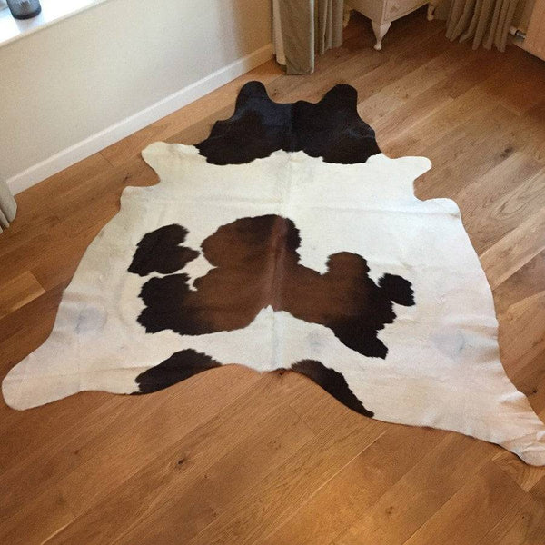 Genuine Cowhide Rug in White with Brown & Black Markings - The Farthing