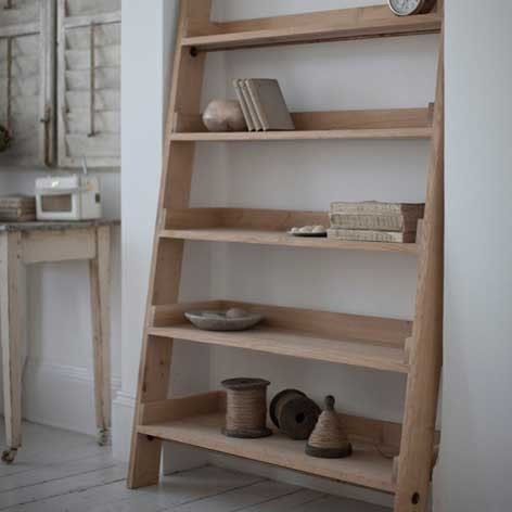 Large Oak Wider Shelf Ladder - The Farthing  - 1