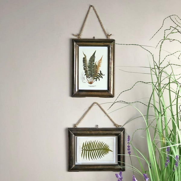 Vintage Brass Hanging Glass Frames - Choice of two