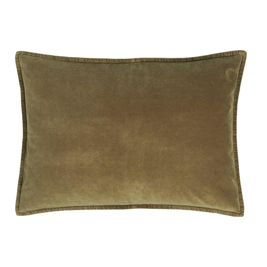 Large Soft Velvet Rectangle Cushion - Olive Green at the Farthing