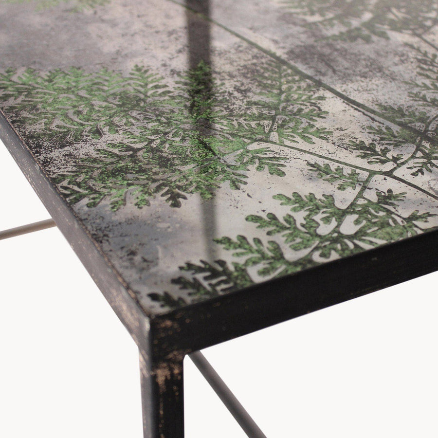 Vintage Ferns Glass Topped Console Table