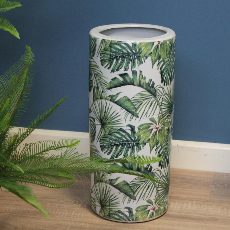 Green and White Ceramic Umbrella Stand at the Farthing