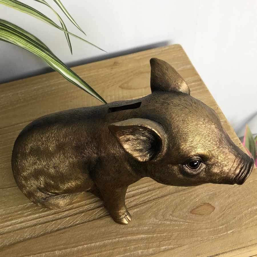 Gold Pig Piggy Bank | Farthing