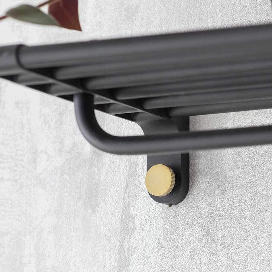 Black Metal Hanging Rail Shelf