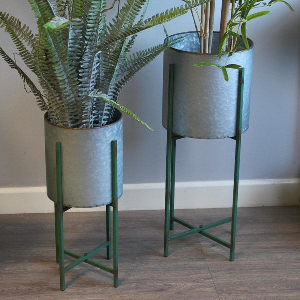 Industrial Raised Round Metal Plant Pot - On Stand at the Farthing