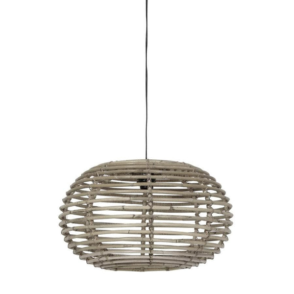 Grey Rattan Dome Pendant Light at the Farthing