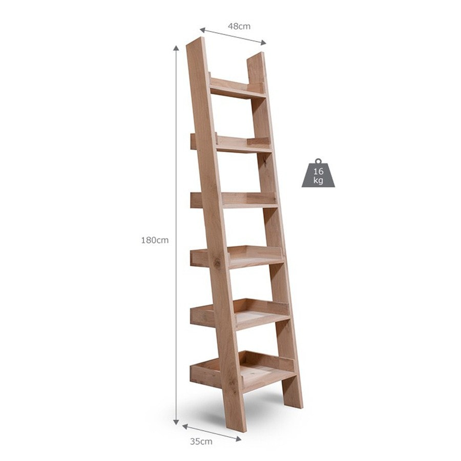 Natural Raw Oak Shelf Ladder - The Farthing  - 1