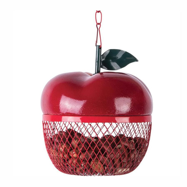 Hanging Red Apple Shaped Bird Feeder at the Farthing