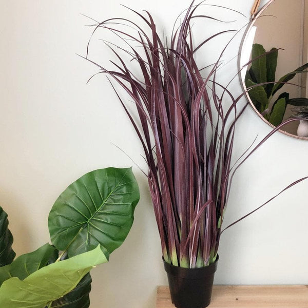 Faux Potted Ornamental Wild Grass - Burgundy 1