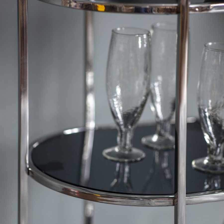 Rounded Edge Chrome & Smoked Glass Drinks Trolley