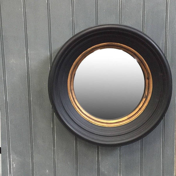 Deep Round Black & Gold Convex Mirror - The Farthing