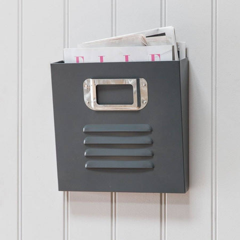 Retro Inspired Locker Room Magazine Rack in Charcoal - The Farthing