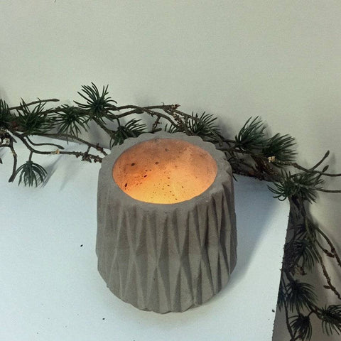 Rustic Fluted Concrete Votive - The Farthing