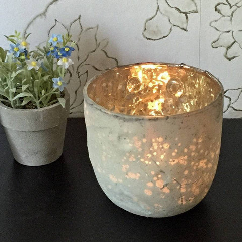 Rustic Glass Tea Light Holder - The Farthing