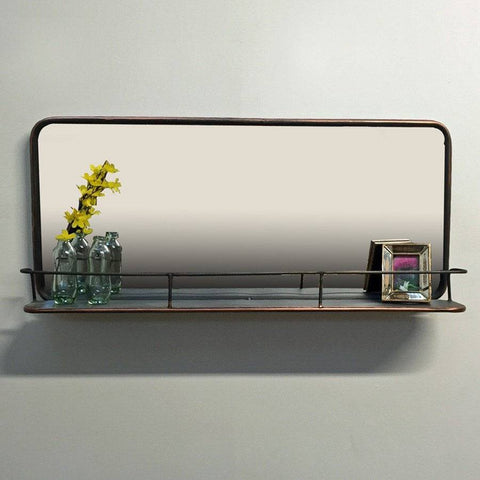 Industrial Metal Wall Mirror Shelf - Copper finish - The Farthing