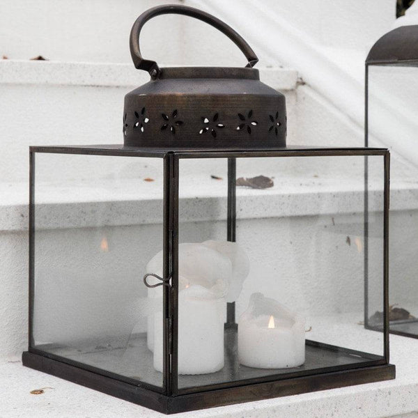 Vintage Style Glass Flower Hurricane Lantern - The Farthing