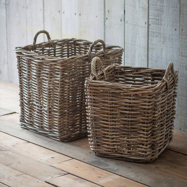 Rustic Square Log Basket in Rattan - Set of 2 - The Farthing  - 1