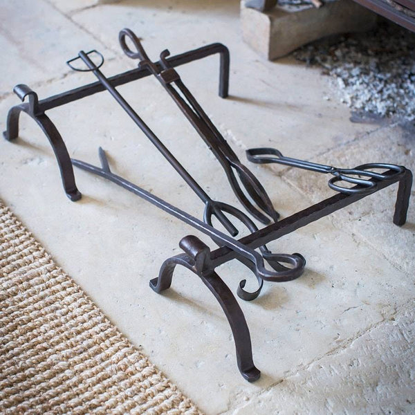 Rustic Iron Fire Dogs & Set of Tools - The Farthing
