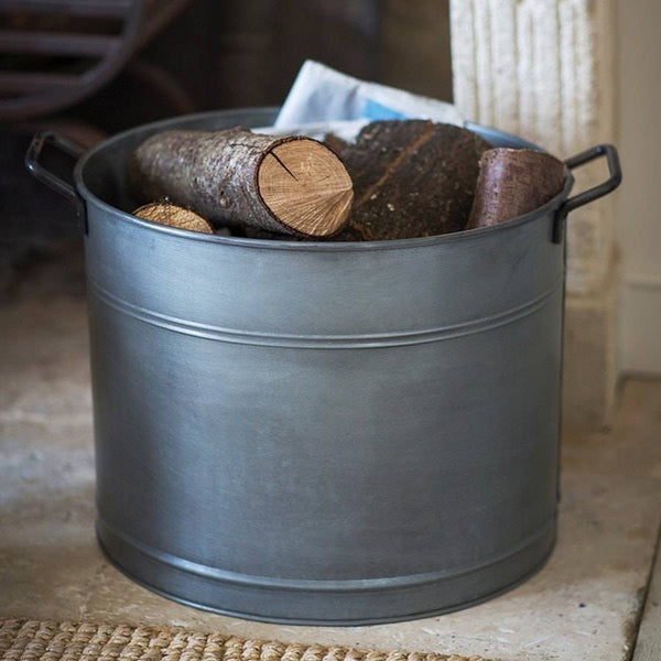 Rustic Galvanised Metal Log Bucket - The Farthing
