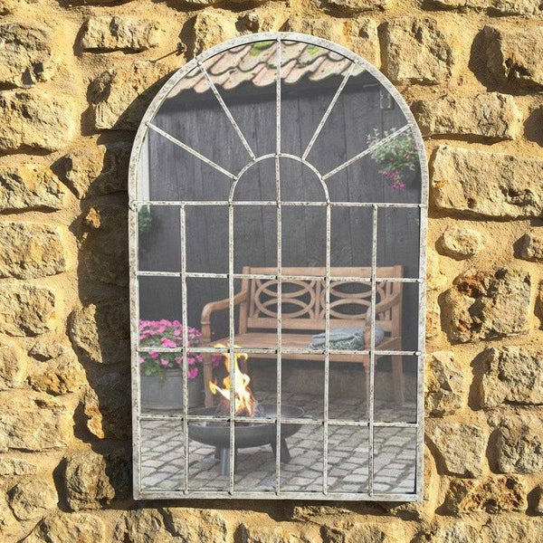Distressed White Metal Garden Arch Mirror at the Farthing