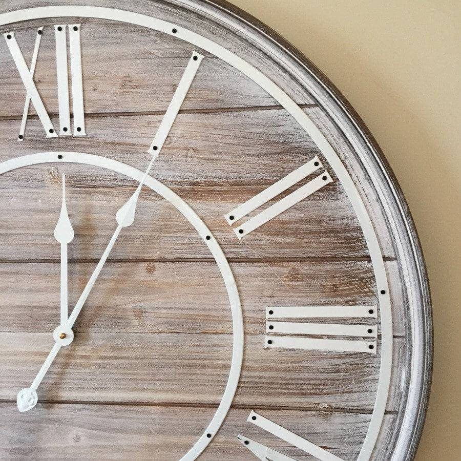 Round Rustic Chic Wooden Wall Clock The Farthing