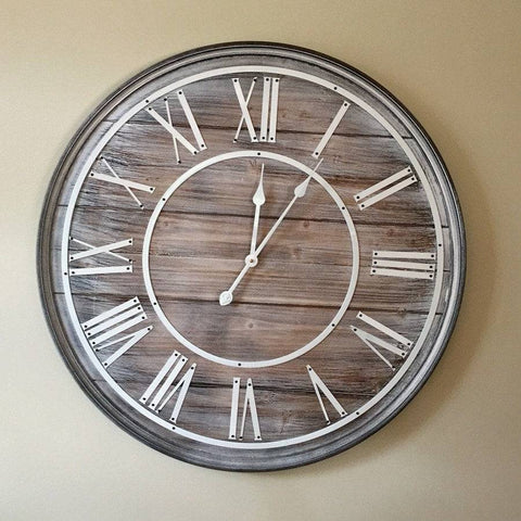 Rustic Wooden White Washed Round Wall Clock - The Farthing