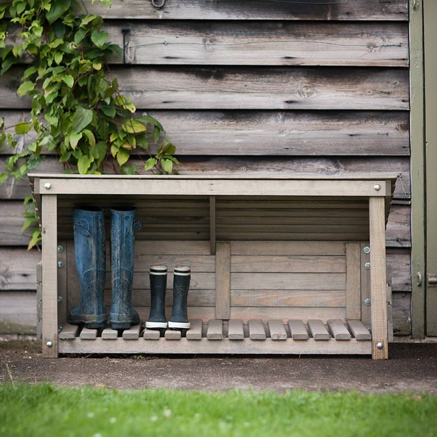 Rustic Aldsworth Outdoor Wooden Welly Boot Storage - The Farthing  - 3