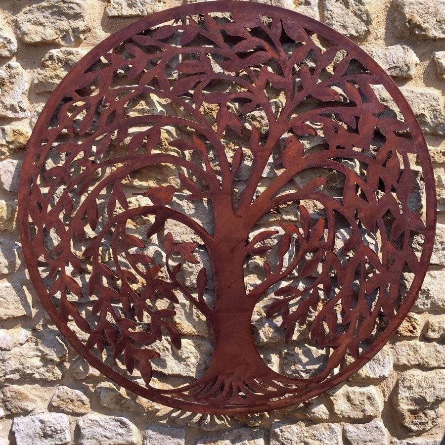 Round Rustic Metal Weeping Willow Tree Wall Art - The Farthing