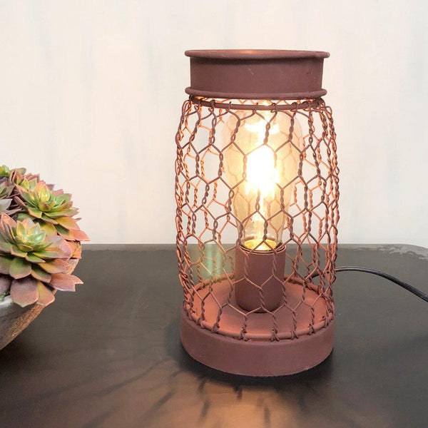 Rustic Wire Cage Table Lamp - The Farthing 1