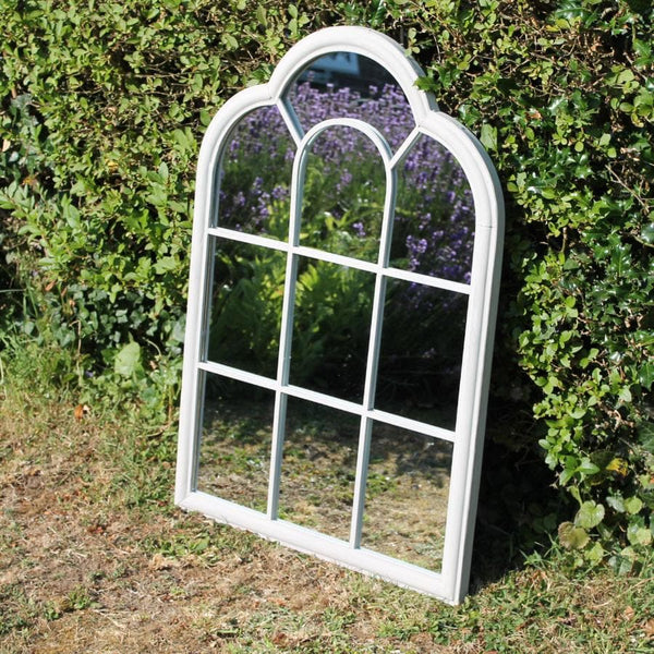 Distressed Scallop Top Garden Mirror at the Farthing
