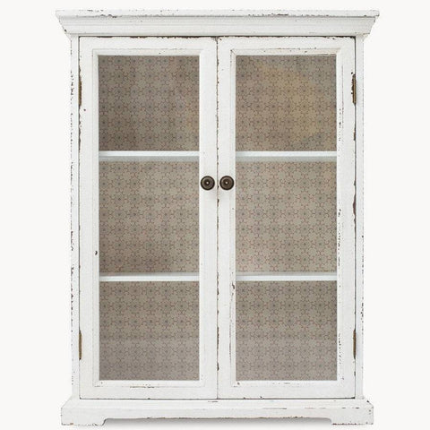 Itora Distressed White Glass Fronted Wall Cabinet - The Farthing