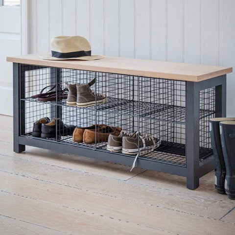 Vintage Style Shoe Locker Storage Bench In Charcoal   The Farthing   1