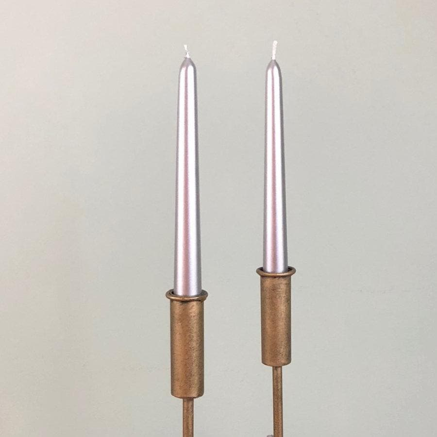 Metallic Silver Taper Candle - pack of 4 | Farthing
