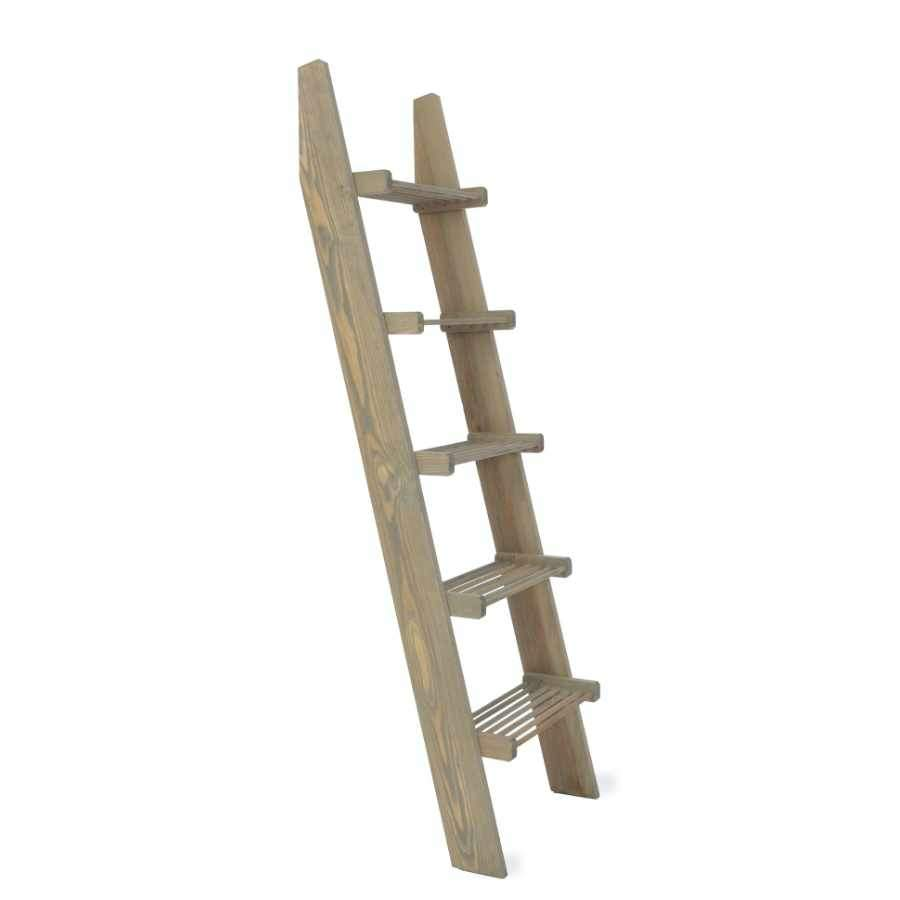 Rustic Wooden Slatted Shelf Ladder