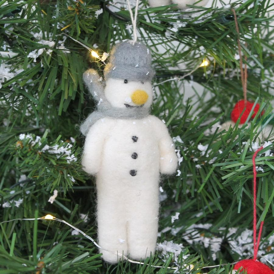 Felt Christmas Mr Snowman Hanging Decoration