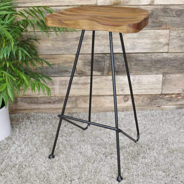 Dual Hairpin Leg and Wood Topped Stool | Farthing