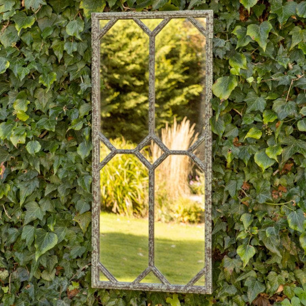 Tall Aged Metal Garden Mirror at the Farthing