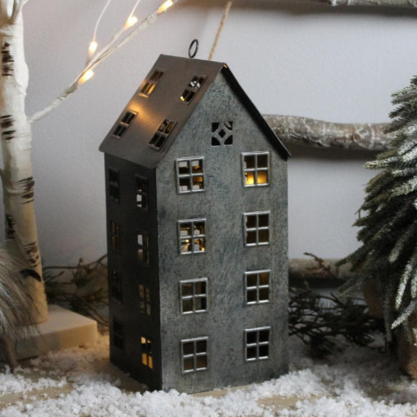 Tall Metal Tea Light Christmas House
