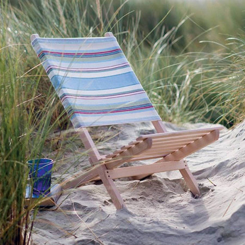Suffolk Stripe Folding Wooden Beach Chair - The Farthing